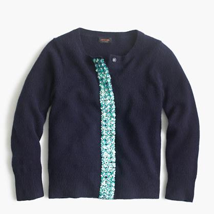Girls' embellished cashmere cardigan sweater
