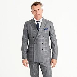 Ludlow double-breasted suit jacket in windowpane Italian wool flannel