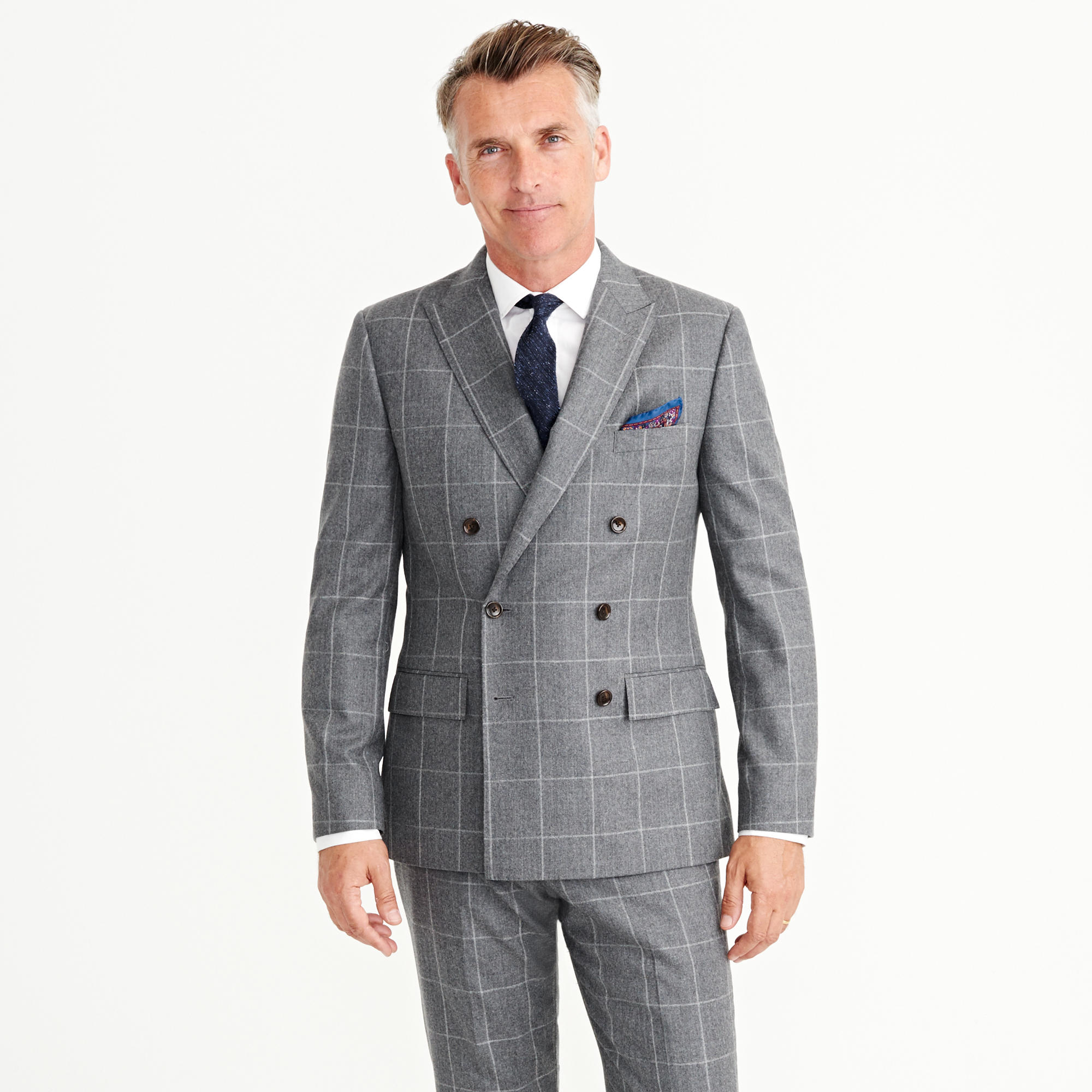 Ludlow double-breasted suit jacket in windowpane Italian wool