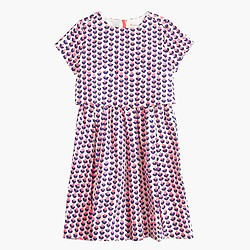 Girls' two-tier dress in ink-drop heart