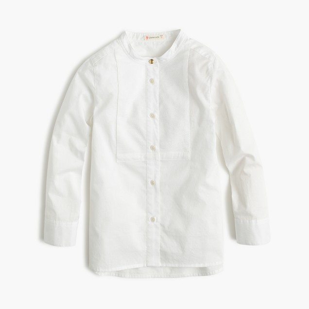 Girls' white cotton tunic