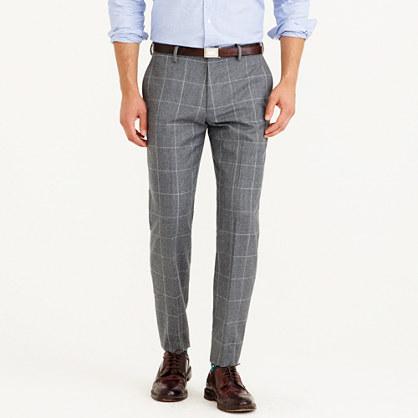 Crosby suit pant in windowpane Italian wool flannel