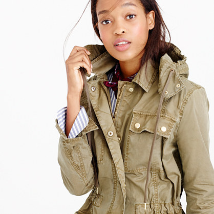 Twill military anorak coat