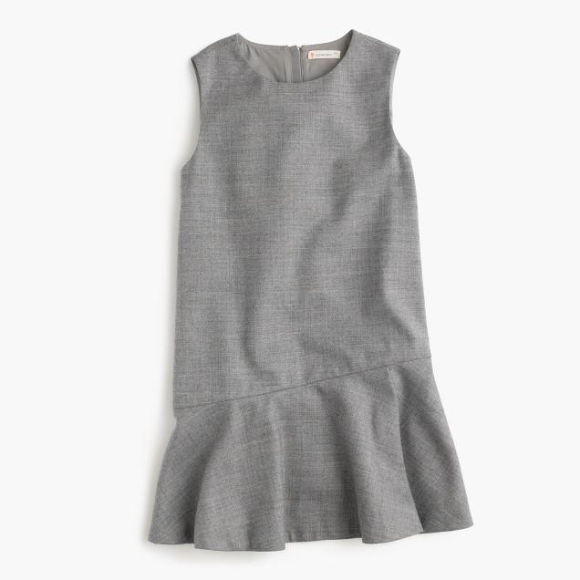 Girls' flutter-hem flannel dress