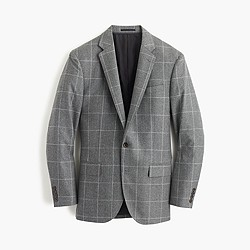 Crosby suit jacket in windowpane Italian wool flannel