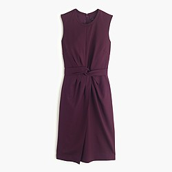 Knotted sheath dress in Super 120s wool