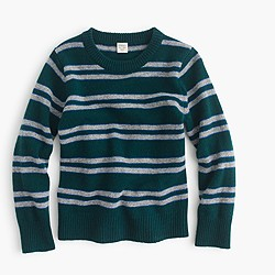 Boys' lambswool crewneck sweater in forest stripe