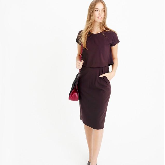 Two-tier dress in Italian stretch wool