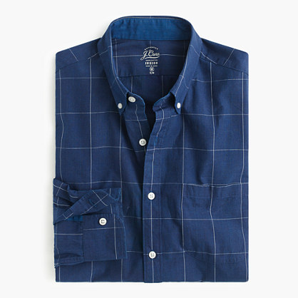 Slim Secret Wash shirt in indigo windowpane