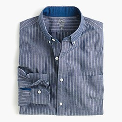 Slim Secret Wash shirt in indigo pinstripe