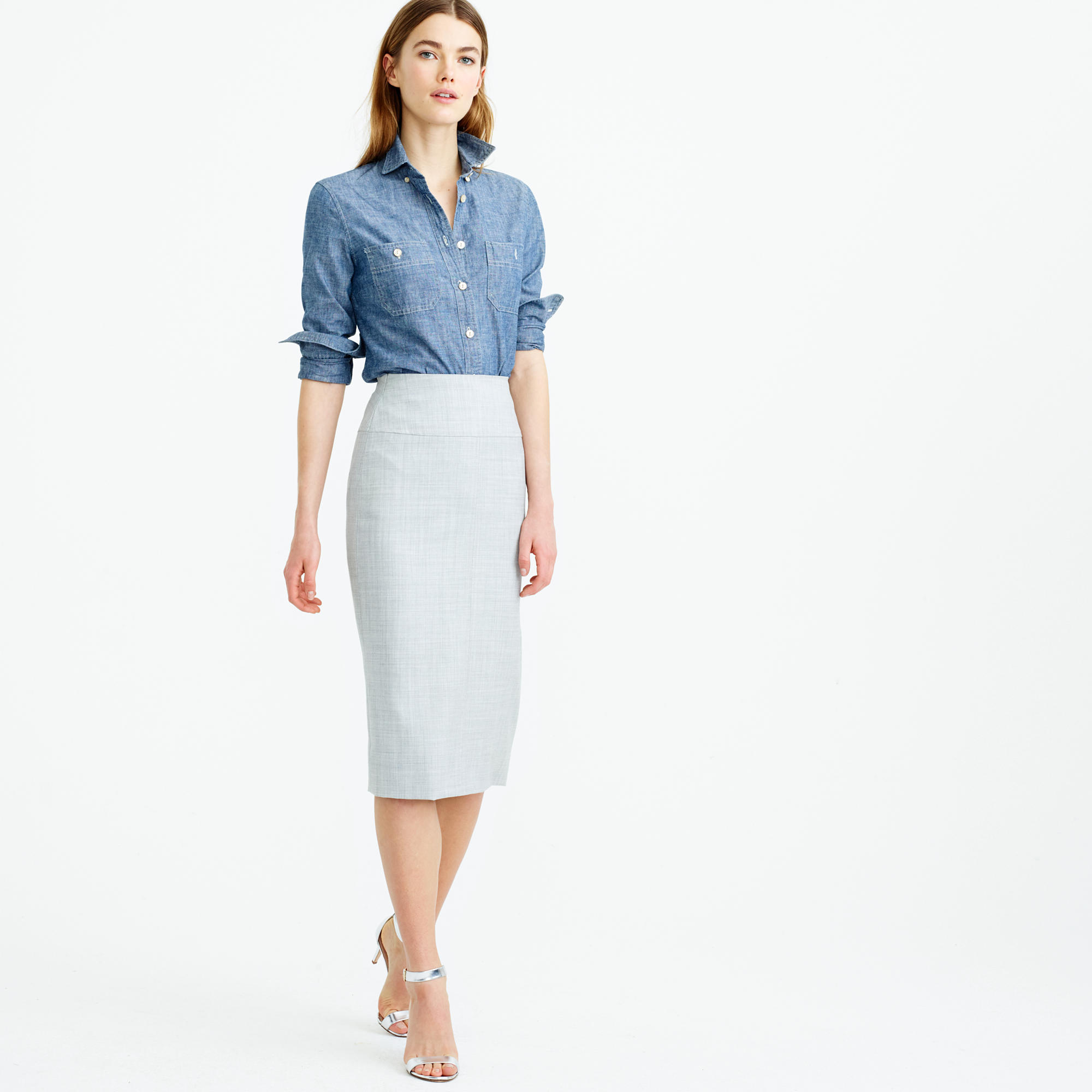 Pencil skirt in two-way stretch cotton : Women pencil | J.Crew