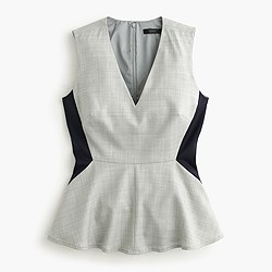 Colorblock peplum top in Super 120s wool