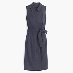 Faux-wrap trench dress in Super 120s wool