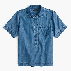 Short-sleeve cropped denim popover shirt