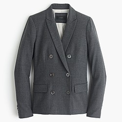 Double-breasted blazer in wool flannel