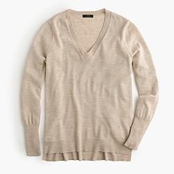 Merino wool V-neck tunic sweater