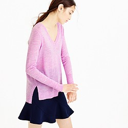 Merino wool V-neck tunic sweater