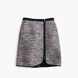 Metallic tweed zip skirt