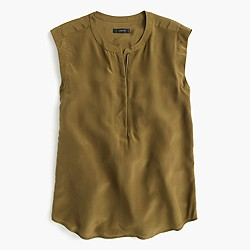 Silk zip tank top