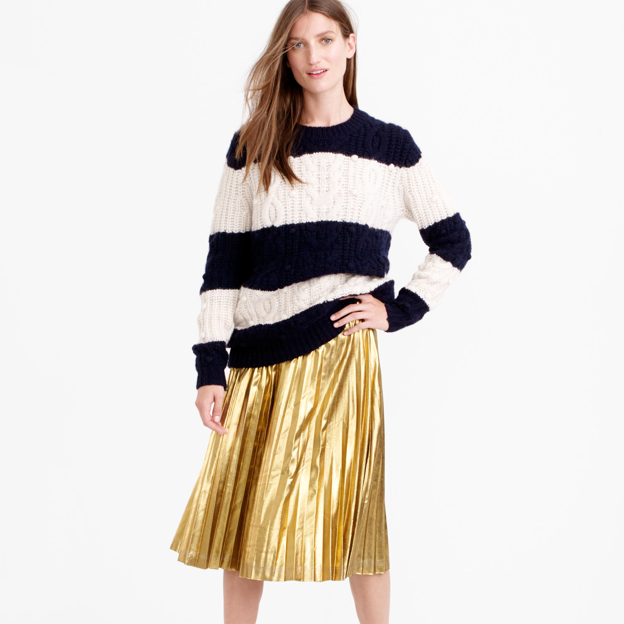 Pleated midi skirt in metallic : | J.Crew
