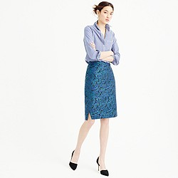 Pencil skirt in metallic jacquard