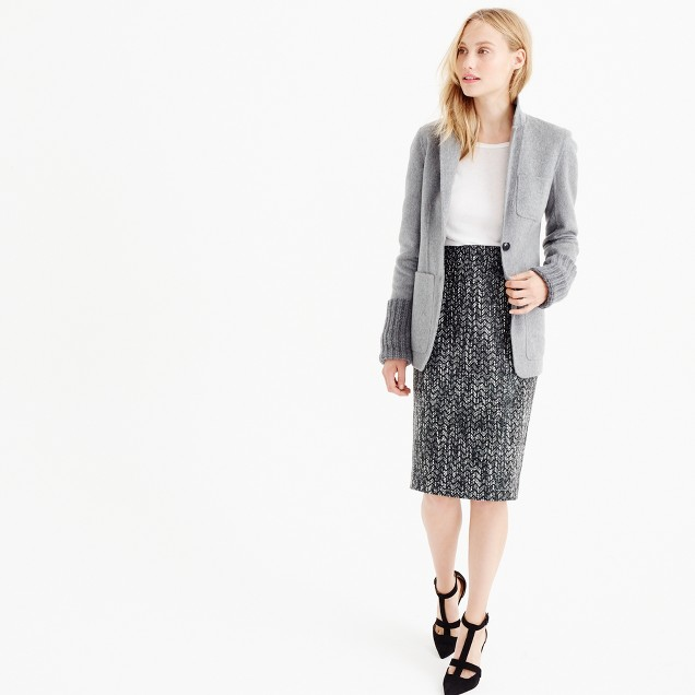 Petite No. 2 pencil skirt in holographic tweed