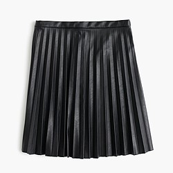 Faux-leather pleated mini skirt