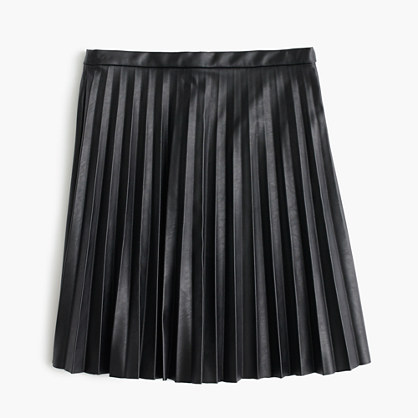 Tall faux-leather pleated mini skirt