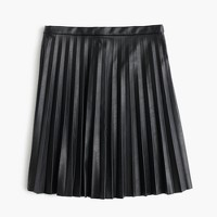 Faux-leather pleated mini skirt