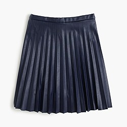 Petite faux-leather pleated mini skirt
