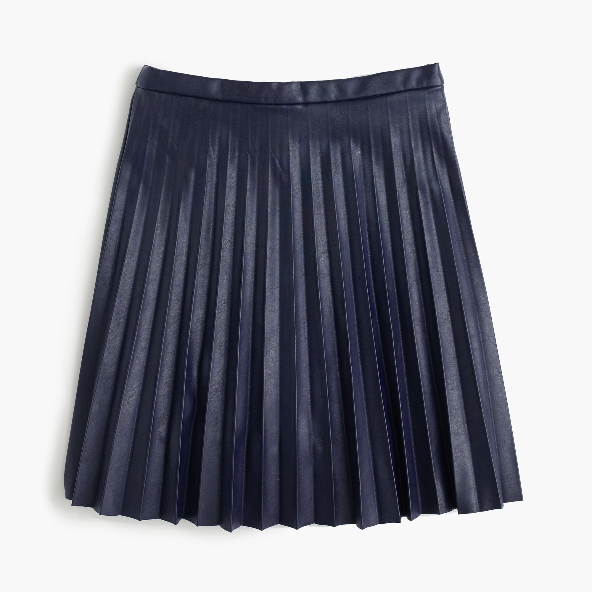 Tall Faux-Leather Pleated Mini Skirt : Women's Skirts | J.Crew