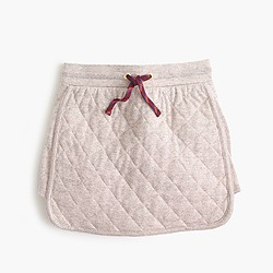 Girls' quilted pull-on track skirt in metallic