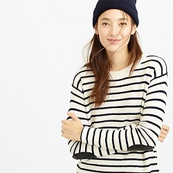 Striped leather panel swing sweater
