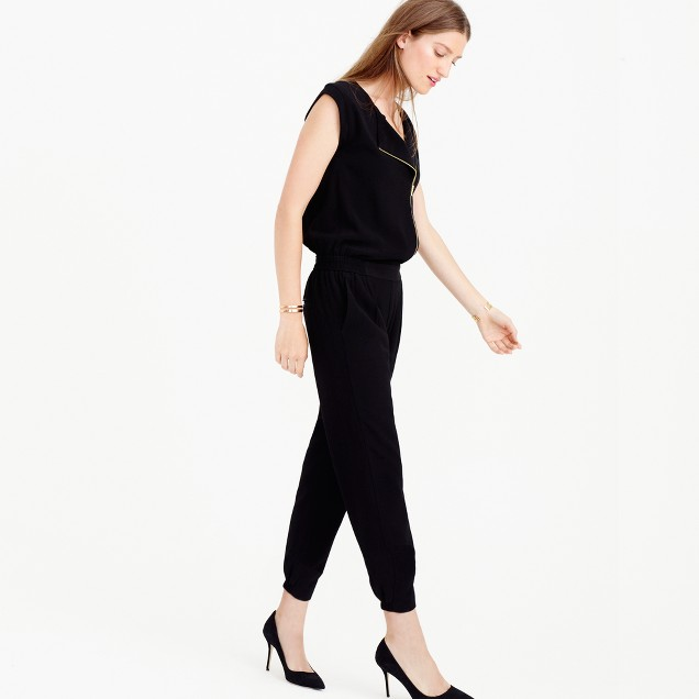 Asymmetrical zip jumpsuit