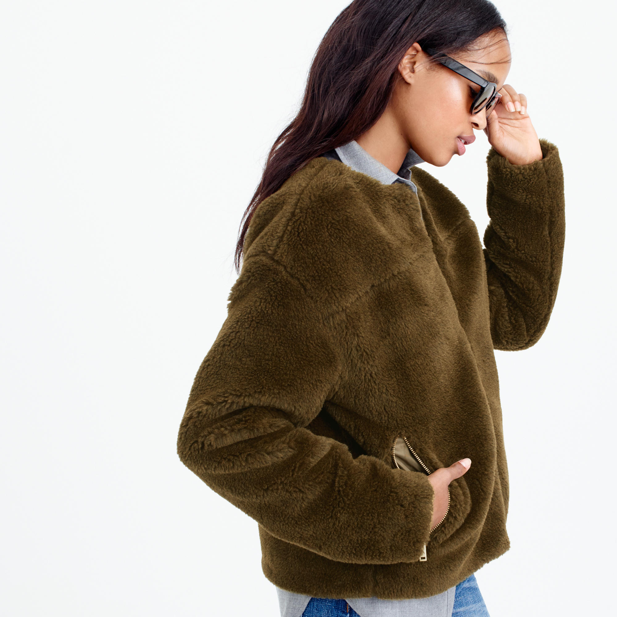 Plush fleece teddy jacket : | J.Crew