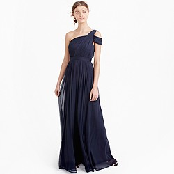 Cara long dress in silk chiffon