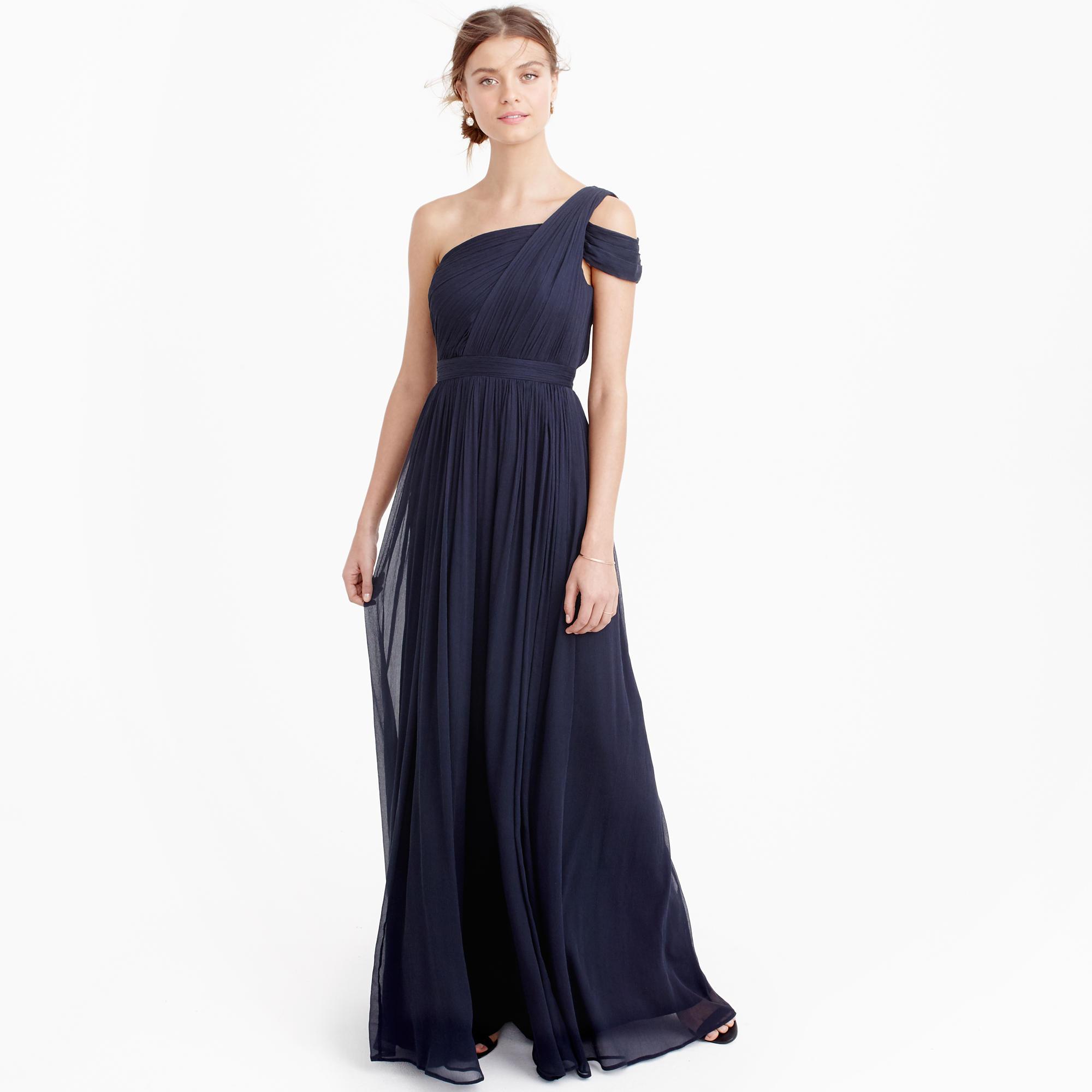 Cara long dress in silk chiffon : - J.Crew