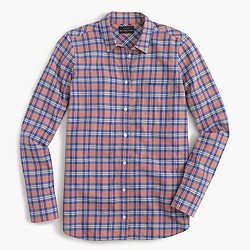 Petite boy shirt in pink and blue plaid