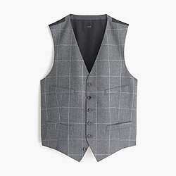 Ludlow suit vest in windowpane Italian wool flannel