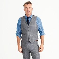 Ludlow suit vest in windowpane Italian wool flannel
