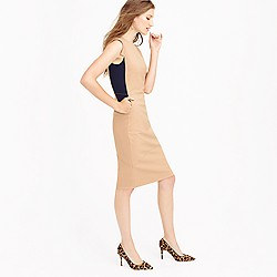 Colorblock sheath dress in Italian stretch wool