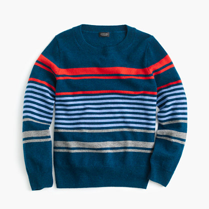 Kids' cashmere sweater in mixed-up stripe