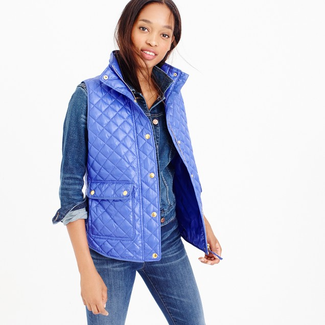 Petite shiny quilted field puffer vest