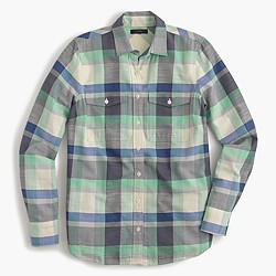 Petite flannel boyfriend shirt in pacey plaid