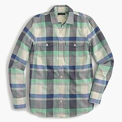 Petite flannel boyfriend shirt in pacey plaid