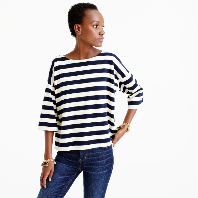 Oversized drop-sleeve striped T-shirt