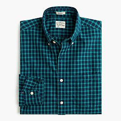 Secret Wash shirt in warm pine plaid
