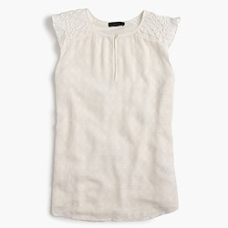 Sleeveless ruffle cap-sleeve top