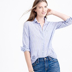 Boy shirt in blue skinny stripe