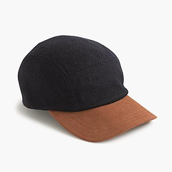 Five-panel wool and suede baseball cap